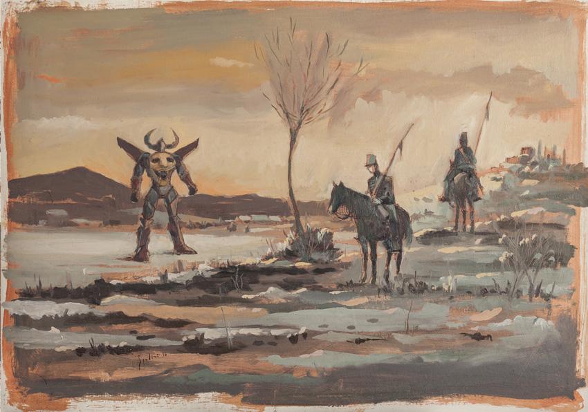 """Pittura contemporanea di artisti emergenti. La pittura dei Macchiaioli e di Giovanni Fattori si confronta con le icone dell'animazione giapponese degli anni 80 dei """"robottoni"""" che hanno segnato una generazione."""
