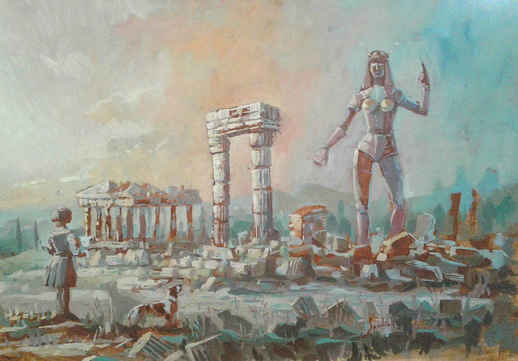 Dipinto a olio di Fabrizio Spadini realizzato in Areaperformance a Lucca Comics